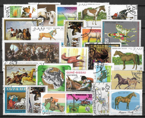 HORSES Collection Packet of 25 Different WORLD Stamps featuring HORSES (Lot 1)