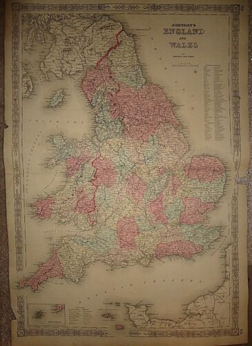Vintage 1863 ENGLAND MAP Old Antique Original Atlas Map 82518