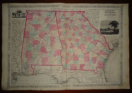 Vintage 1863 GEORGIA - ALABAMA MAP Old Antique Original Atlas Map 82518