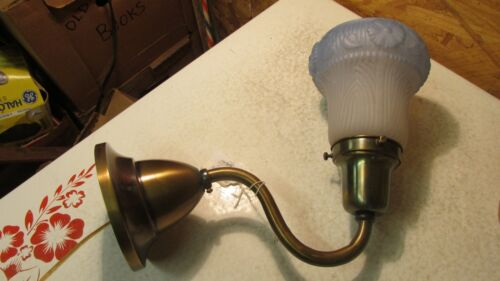 Antique Brass Wall Light & Blue Shade  No. B
