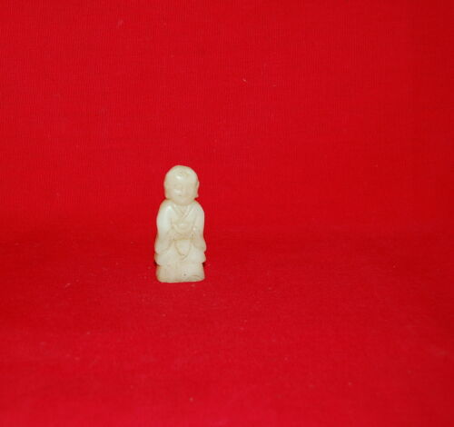 Chinese Chicken Fat Jade Carved Small Standing Buddha Figure