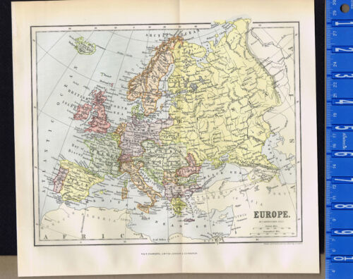 EUROPE 1893 Antique National & Physical Map Print - Johnston - Chambers