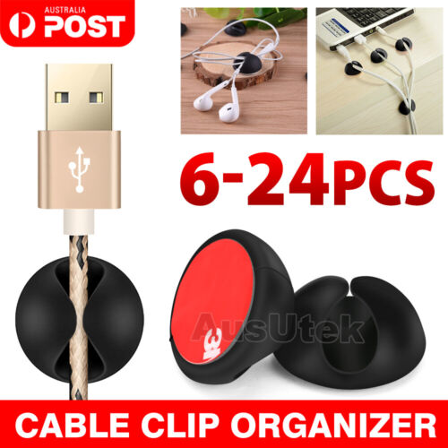 6Pcs-18 Pcs Cable Clips Tidy Cord Lead Organiser USB Charger Holder Drop Sticker