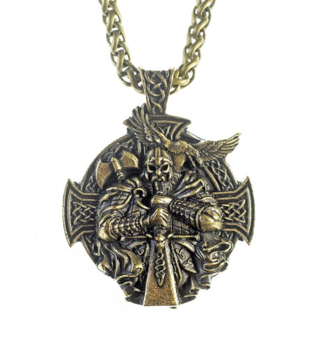 Vikings Style Crow Men's Cross Pendent w Chain Amulet Protective Talisman N73