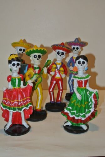 Dia de Los Muertos 6 Piece Skeleton Band Hand Painted Mexico/Nice