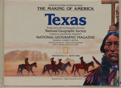 Vintage 1986 National Geographic Map of Texas with Historical Notes