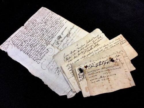 COLLECTION OF SIX ANTIQUE MANUSCRIPTS 1600s