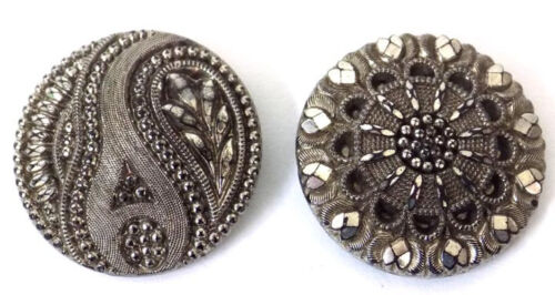 2 Antique Silver Luster Black Glass Buttons Intricate Designs Brass Shanks