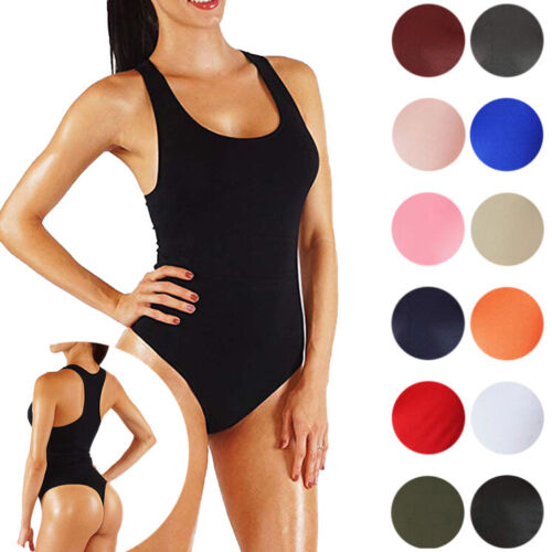 Dance Bodysuit Soft Comfortable Racerback Basic Thong Jumpsuit With Bottom Snaps