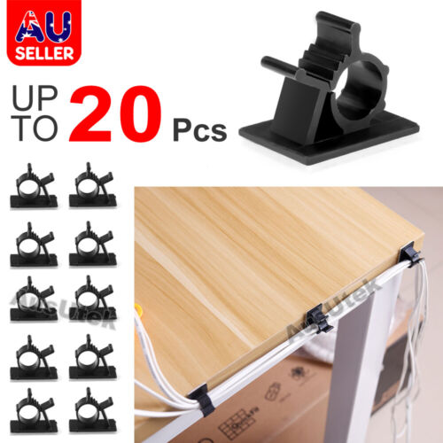 Cable Clips Adhesive Cord Black Management Wire Holder Organizer Clamp