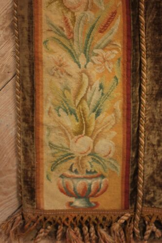 Tapestry Antique French Arts & Crafts needlepoint border textile wall hanging