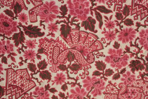 Quilt Antique French Chinoiserie pink & brown hand stitched c1900 LOVELY