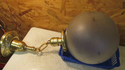 Antique Brass Single Light Fixture & Large Wheel Cut Globe