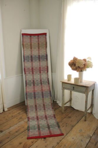 RAG RUG Vintage European carpet stair runner 108 by 24 inches red and purple