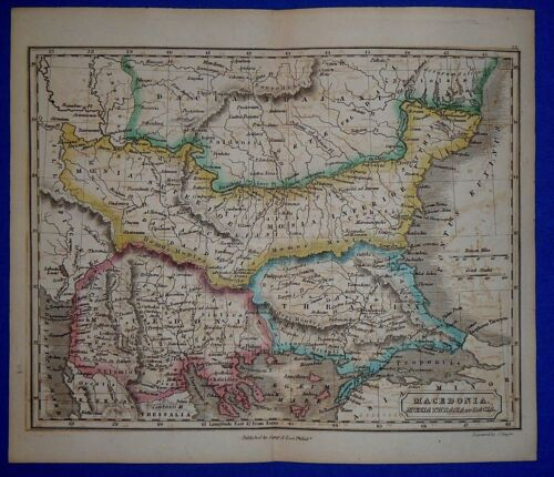 Antique 1838 Hand Colored Map of Ancient MACEDONIA - SERBIA ~ Butler's Atlas