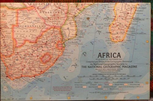 Vintage 1960 National Geographic Map of Africa