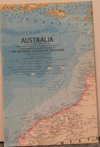 Vintage 1963 National Geographic Map of Australia