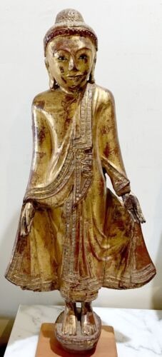 STUNNING LATE 19th CENTURY THAILAND GILT & LACQUER STATUE OF STANDING BUDDHA