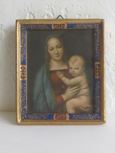 Antique ITALIAN HAND PAINTED GILT GOLD MINIATURE PAINTING PICTURE FRAME MADONNA