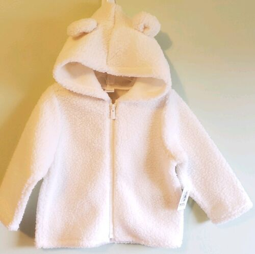 NEW Old Navy Girl 18-24 MONTH Hooded Sherpa Zip Jacket OFF WHITE Sea Salt #35919