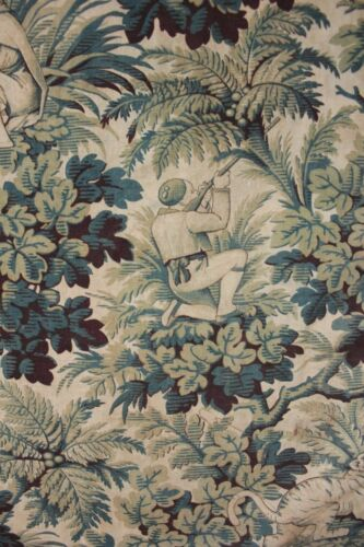 Antique Fabric Jungle & Tiger Hunting Pattern Blue Printed Faded Cotton 1880