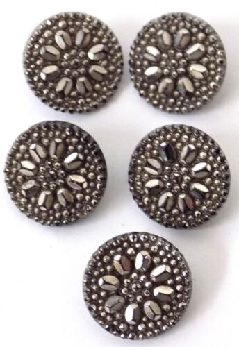 5 Antique Silver Luster on Black Glass Buttons Metal Shanks