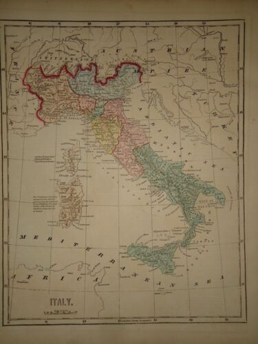 Antique 1856 Hand Colored ITALY MAP Old Authentic Vintage Atlas Map