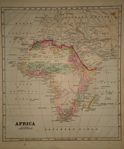 Antique 1856 Hand Colored AFRICA MAP Old Authentic Vintage Atlas Map