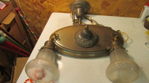 Antique Brass Oval Ceiling Light chandelier & 2 Antique Glass Shades