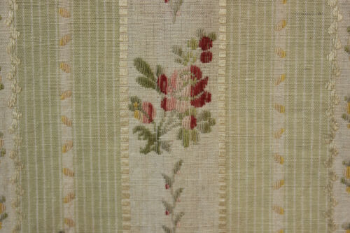 Vintage French curtain panel woven brocade curtain drape  ~ soft pale green