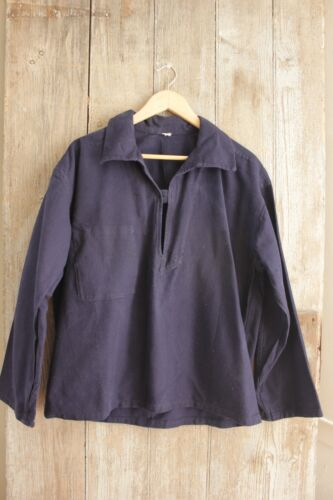 Collared Shirt Antique cotton Blue Open Neck military navy French attire uniform