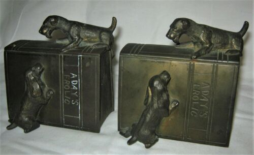 ANTIQUE JENNINGS BROTHERS ART DECO FROLIC PLAYING DOG STATUE SCULPTURE BOOKENDS