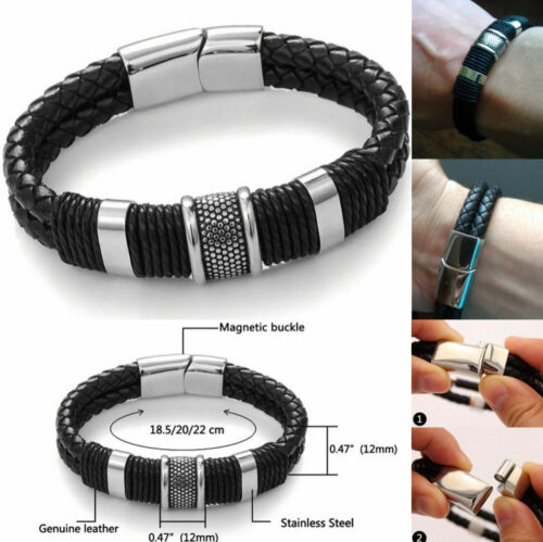 Men's Stainless Steel Magnetic Buckle Bracelet Cool Bangle Cuff Leather Braided