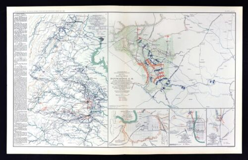 Civil War Map Dinwiddie Battle - Richmond Washington Montgomery Columbus Plans