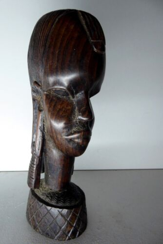 HAND CARVED AFRICAN EBONY TIMBER HEAD BUST STATUE
