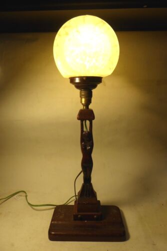 RARE WOODEN CARVED ART DECO DIANA LAMP MOTTLED GLASS SHADE AMERICAN OAK STATUE