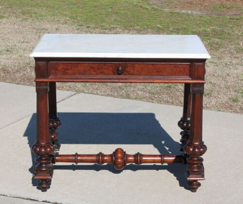 Walnut Victorian Marble Top Library Table Desk Foyer Table with Drawer c1870's