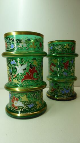 PAIR ANTIQUE HAND PAINTED ENAMEL FLORAL PATTERN GREEN GLASS VASES  GILT