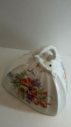 VICTORIAN ANTIQUE PORCELAIN CHINA CHEESE COVER BUTTER DISH LID HAND PAINTED
