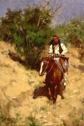 Howard Terpning APACHE SCOUT, Native American, giclee canvas ARTIST PROOF #27/30