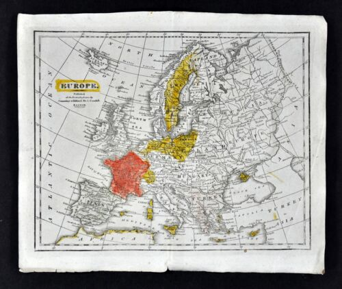 c 1820 Morse Map Europe Spain France Austria Germany Italy Britain Sweden Russia