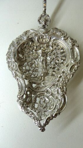 ANTIQUE SILVER FILIGREE DUTCH EXPORT STRAINER 1890 KEY LION EDWIN THOMAS BRYANT