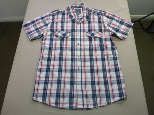 039 MENS NWOT PEPE JEANS WHITE / NAVY / RED CHECK S/S SHIRT SZE XL $120 RRP.