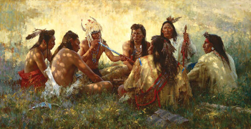 Howard Terpning CROW PIPE CEREMONY Textured Canvas, Native American #323/975