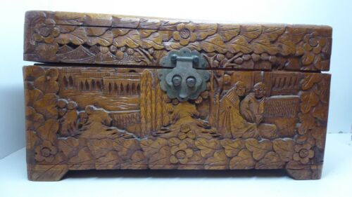 OLD CHINESE CANTONESE CARVED TIMBER JEWELLERY BOX , CIGAR BOX , TEA CHEST CASKET