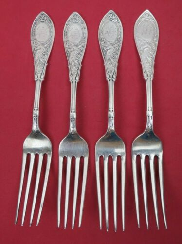 """4 Antique 1875 Sterling Silver Whiting Division ARABESQUE Dinner Forks 7 5/8"""""""