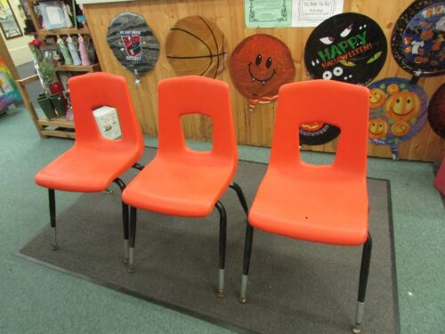 3 VINTAGE ARTCO BELL CO  bucket HARD PLASTIC CHAIR Mid Century retro orange