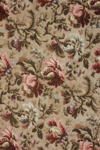 Upholstery fabric Vintage French printed cotton heavy c1900 floral Belle Epoque