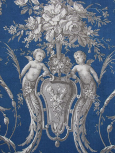 Toile Fabric Antique French Prussian blue headboard slipcover 19th century 1870
