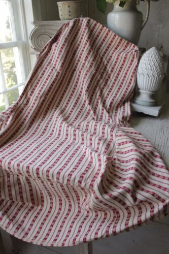 Antique Chair Slipcover French Fabric early 1900's ticking red striped textile